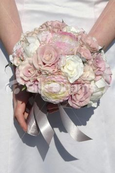 Ivory & Dusky Pink Rose & Ranunculus Vintage Artificial Wedding Bridal Bouquet