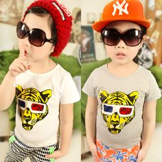 2013 summer korean version of the new childrens clothing childrens baby boy tiger glasses printing short-sleeved t-shirt 6089 only $6.76USD a Piece