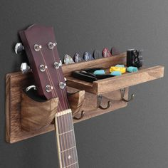 Guitar Wall Hanger, Solid Wood Shelves, Guitar Stand, Guitar Accessories, Wall Mount Bracket, Hanging Racks, Wood Sizes, Decorate Your Room, Room Organization