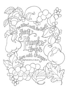 Give Thanks For All Things coloring page in two door KristaHamrick