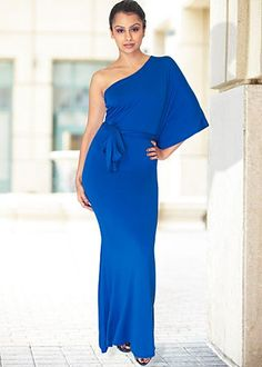 Love this.  One shoulder maxi dress...royal blue