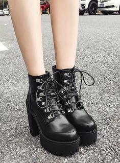 75b72b1ef Stud Lace Up Chunky Heel Ankle Boots. 💗Consigue estas fabulosas botas💗 militar para mujer ...
