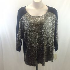 Sejour 3x NWT sequin top Gorgeous, but not my style. Given to me as a birthday gift and even though it looks awesome, just isn't me  gold and champagne sequins against a black top. Size 3X. NWT and no visible imperfections. Body: 95% rayon 5% spandex, decoration: 100% polyester, lining: 90% nylon 10% spandex. Sejour Tops Blouses