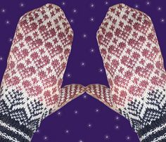 Ravelry: pattern by Jorid Linvik - Gebreide wanten met hartjespatroon - gratis patroon Crochet Mittens, Mittens Pattern, Knitted Gloves, Knit Crochet, Fair Isle Knitting Patterns, Knitting Charts, Knitting Socks, Knitted Christmas Stockings, Christmas Knitting