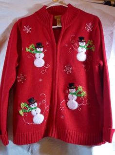 Womens-Christmas-Sweater-Size-Medium-Red-Embroidered-Snowflakes-Snowmen-Zipper