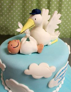 Stork Baby Figurine by Amanda Oakleaf Cakes, via Flickr