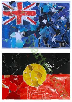 Australian and Aboriginal Flag Collage Art Activity Teaching Resource - Teach Starter