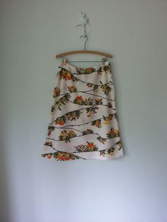 Vintage Mushroom Skirt 1970's White ALine by sparvintheieletree, $30.00