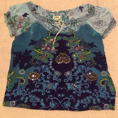 Blouse Beautiful detailed blouse made in India. Sequins and beads on the front. Size Large in Juniors. Good condition! Bila Tops Blouses