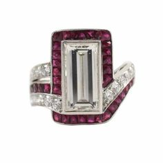 Exquisite Ruby and Emerald-Cut Diamond Ring from Tara Compton Fine & Estate Jewelry