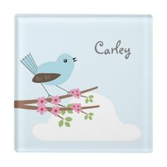 Personalized with Name Cartoon Blue Bird with pink flowers in a tree.