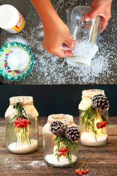 Mason jars come in handy on different occasions. They can be used for food storage or even for decorations. Here for you, are some absolutely incredible and creative ways and ideas that you can use mason jars. Wine Bottle Crafts, Jar Crafts, Decor Crafts, Pot Mason Diy, Mason Jar Gifts, Christmas Crafts, Christmas Decorations, Xmas, Diy Christmas Centerpieces