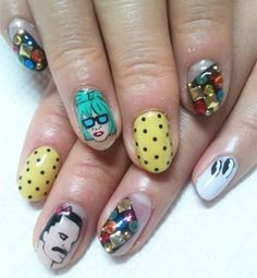 Pop music crazy nails by Disco-nail.