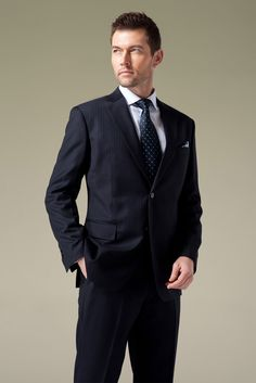 Navy Blue With Blue & Green Pinstripe Custom Suit,$340