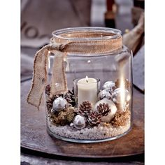 Windlicht, Glas Vorderansicht - All For Remodeling İdeas Rustic Christmas, Christmas Home, Merry Christmas, Christmas Ornaments, Vintage Christmas, Christmas Candles, Jar Crafts, Diy And Crafts, Snowman Crafts