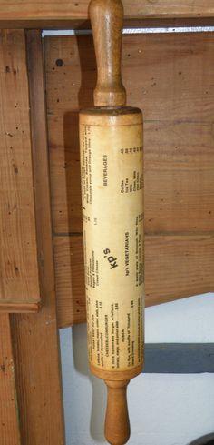 Wooden Vintage KP's Menu Rolling Pin