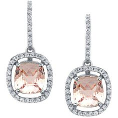 Floating Morganite Halo Earrings ($1,800) ❤ liked on Polyvore featuring jewelry, earrings, pink earrings, white jewelry, round earrings, white gold earrings and white gold jewelry
