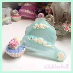 ♡Shell mirror&comb blue