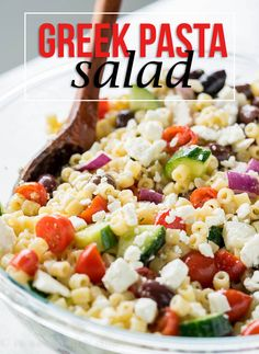 Greek Pasta Salad Recipe is filled with tender bite-size pasta, crunchy cucumber, juicy tomatoes and so much more! Greek Pasta Salad Recipe is a fun twist on the classic pasta salads you can bring to pot lucks and bbq's. This cold salad is always a hit with my friends and family! I can't tell you how much I love this cold Greek Pasta Salad Recipe... it's filled with all of my favorite fresh veggies plus tangy feta cheese and salty kalmata olives! Kalmata olives are my son's ab...