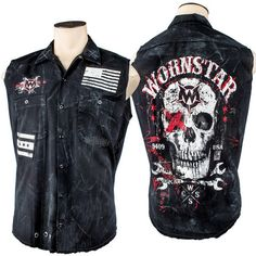 Custom Destroyed Death Mechanic Sleeveless Work Shirt WSCV-415 http://www.wornstar.com/collections/stage-wear/products/custom-destroyed-death-mechanic-sleeveless-work-shirt-wscv-415?utm_content=buffer2df6c&utm_medium=social&utm_source=pinterest.com&utm_campaign=buffer
