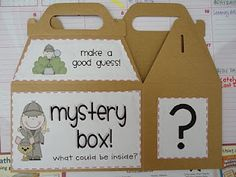 """Mystery box to introduce new topic. (use for my solar system unit?) This could also be used as a great idea for a writing assessment. Kids can go up to the box and feel what is inside it without looking and then write a piece about what they think it is. Could be a great """"Work on Writing"""" activity for Daily 5!"""