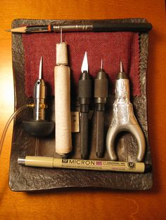 Scrimshaw Tools   Top: a pencil. I don't use it too often, but sometimes there's a need