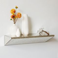 Wedge Shelf   * Mirrored surface glazed with an antiqued finish for a foxed effect.