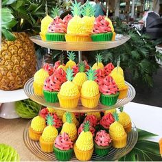 Birthday Cupcakes birthday ideas pineapple and watermelon cupcakes 2nd Birthday Party For Girl, Spongebob Birthday Party, Watermelon Birthday Parties, Fruit Birthday, Fruit Party, Birthday Ideas, Luau Birthday Cupcakes, 30th Birthday, Tropical Party Foods
