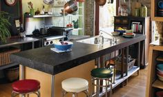 3461 - Black Fossilstone #interiordesign #kitchen #countertop