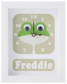 Stripey Cats Personalised Frog Framed Clock, 23 x 18cm, Green