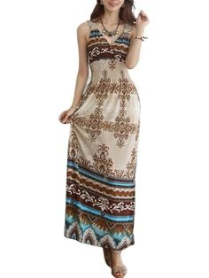 Attractive V Neck Chiffon Bohemian Maxi-dress Maxi Dresses from fashionmia.com