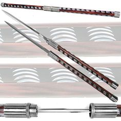 Collectible sword boasts two blades in one sword Sword has beautiful etched handle Sword length is 33-inches closed Each blade is 12.25 inches long Please Note: This item is not a weapon and is for de