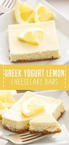 Kick-off the start of spring with Greek Yogurt Lemon Cheesecake Bars! This easy dessert recipe is lightened up, creamy, and bursting with fresh lemon flavor. You can never go wrong with this healthy spring season food! Save this and try it! Greek Yogurt Dessert, Greek Yogurt Cheesecake, Lemon Cheesecake Bars, Greek Desserts, Greek Yogurt Recipes, Köstliche Desserts, Delicious Desserts, Desserts With Yogurt, Lemon Yogurt Cake