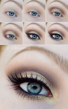 12 Awesome Smokey Eyes Tutorials {The Weekly Round Up} | The Crafting Nook by Titicrafty Makeup Tutorial Blue Eyes, Makeup For Fair Skin, Makeup Tips For Blue Eyes, Small Eyes Makeup, Red Hair Blue Eyes Makeup, Blonde Eyebrow Makeup, Make Up Gold Eyes, Bigger Eyes Makeup, Makeup For Blonde Hair