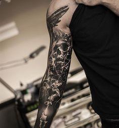 'Let there be darkness' kind of in progress:) @lundberg_custom_supplies @eikondevice @tattoocyn @tattoostudio73 #tattoo#tattooing#tattoos#bng#blackngrey#skull#skulltattoo#smoke#candle#sleeve#realistictattoo#tattooistartmagazine#superbtattoos#tattoosofinstagram#inkedmag#love
