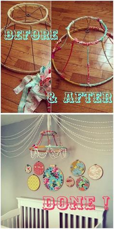 Thrifted a vintage lampshade and covered it in fabric scraps. then added pom-pom garland for the finishing touch.