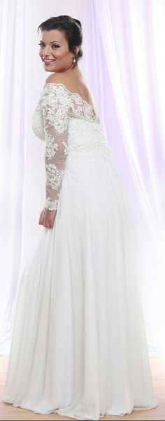 Classic plus size wedding gown lace sleeves and chiffon skirt. Pure luxury! Tara. Studio Levana