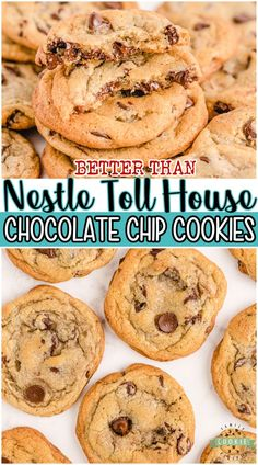 NESTLE TOLL HOUSE COOKIES recipe from the little yellow bag of chocolate chips with a few tweaks to make them even BETTER! Fantastic buttery chocolate chip cookie recipe with perfect flavor & texture. #cookies #chocolatechip #NestleTollHouse #baking #easyrecipe from FAMILY COOKIE RECIPES