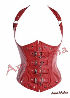 Buy It Now | Ladies Leather Corset In Red #Amimuha #Buckle