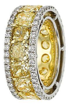 Fancy Yellow Diamond, Diamond, Platinum, Gold Eternity Band. ...
