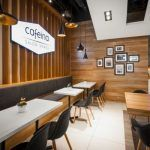 Image 8 of 15 from gallery of Cafeina Café / mode:lina architekci. Photograph by Marcin Ratajczak Coffee Shop Interior Design, Coffee Shop Design, Interior Design Inspiration, Design Shop, Café Design, Design Ideas, Cafe Mode, Simple Cafe, Shopping Interior