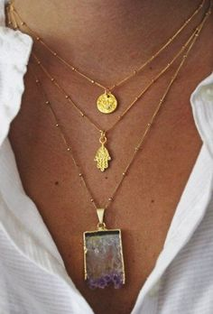 Layered necklaces via Tumblr.~like the gold chains with the gold beads, looks really nice.