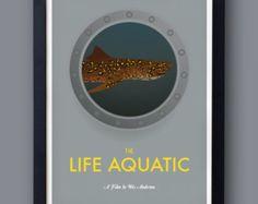 "Life Aquatic poster, ""Jaguar shark""  Wes Anderson film  -  Bill Murray, Owen Wilson,  Steve Zissou, Seu Jorge, Cate Blanchett"
