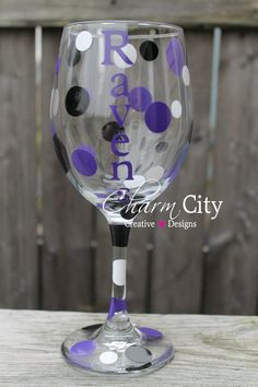 Baltimore Ravens Wine Glass 20 oz Football Super Bowl by ahindle78, $12.00