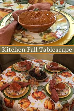 There is something about creating a pretty Autumn Tablescape in the Kitchen that just seems to make the home feel more warm and cozy. I love creating those Fall Feels in my home using traditional fall colors. I use everyday dishes on my Fall Tablescape in the Kitchen so we can enjoy meals at this table everyday. All of the details and tips are shared in the post. #falltablescape  #falldecorating Autumn Decorating, Fall Decor, Spaghetti Dinner, Crock Pot Tacos, Christmas Arts And Crafts, Wooden Dough Bowl, Seasonal Celebration, Everyday Dishes, Thanksgiving Tablescapes