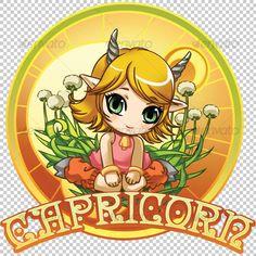 Capricorn Zodiac - Characters #Illustrations Download here:  https://graphicriver.net/item/capricorn-zodiac/33461?ref=alena994