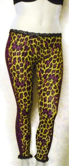 Yellow and purple leopard print psychobilly leggings.