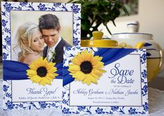 If royal blue and yellow are your wedding colors, this lovely suite by Wasootch is sure to be a hit! You can find the full set here: http://lemonleafprints.com/wedding-save-the-date-postcard-sunflower-royal-blue-damask.html