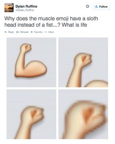 25 Questions About Emojis That Desperately Need To Be Answered, like why does the muscle-arm have a sloth head instead of a fist.