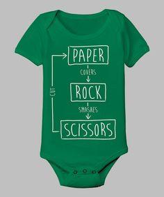 Green 'Rock Paper Scissors' Bodysuit